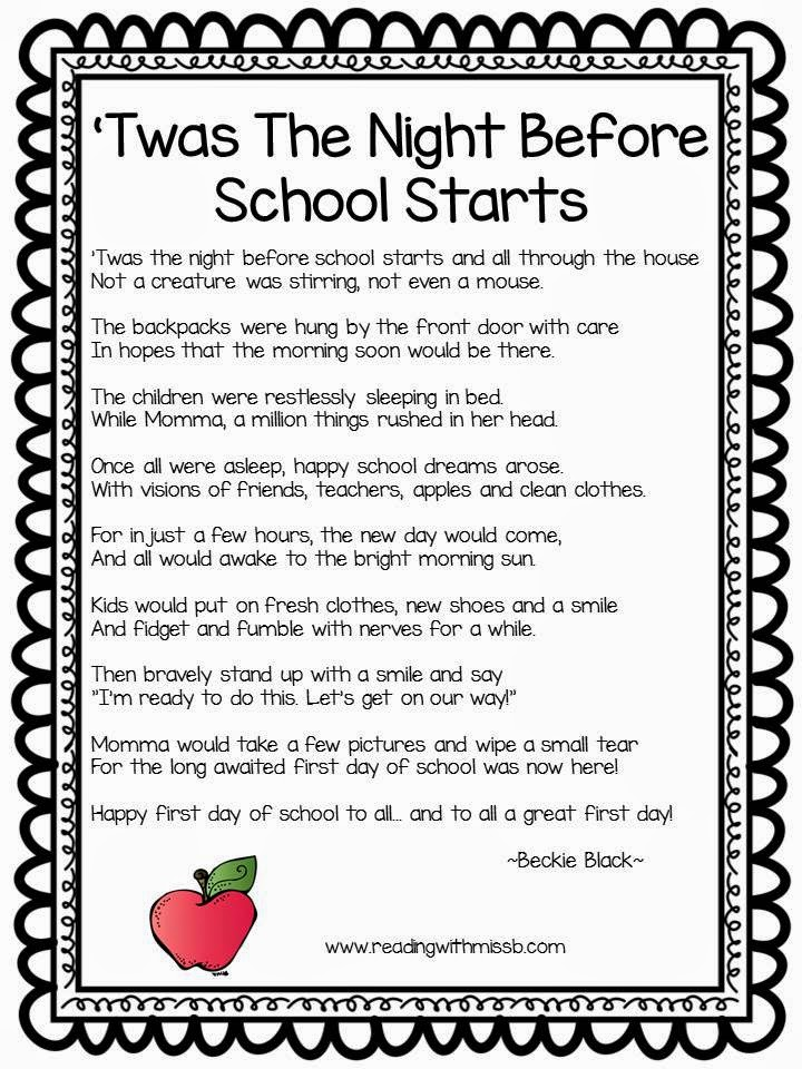 my first day at school poem