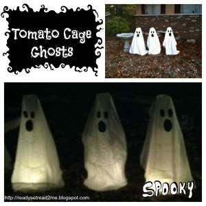 DIY Halloween Decorations, DIY ghost decorations, tomato cage ghosts, Halloween decor, ready set read, halloween activities for kids, halloween crafts for kids, fall crafts for kids