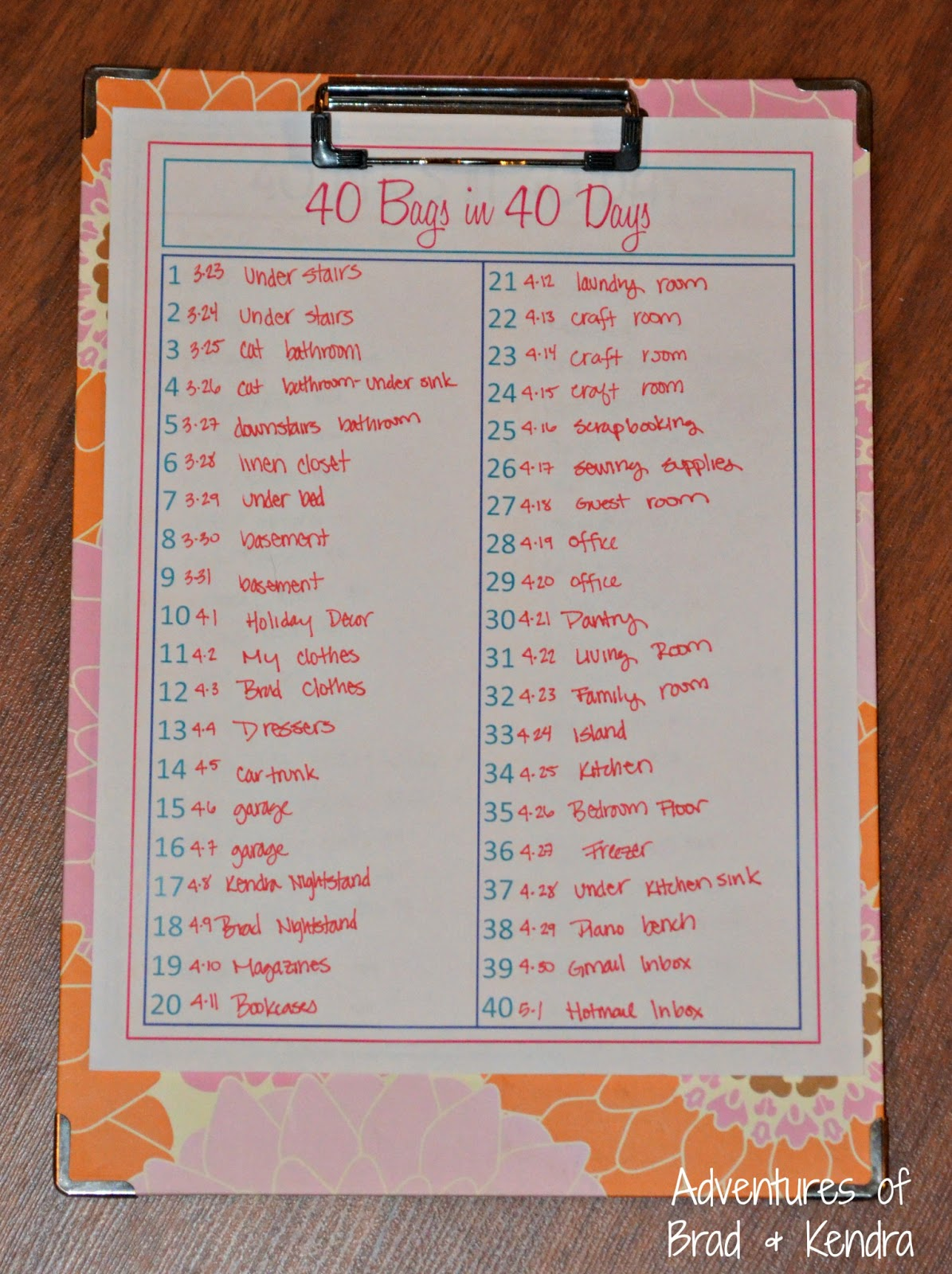 This is an image of Transformative 40 Bags in 40 Days Printable