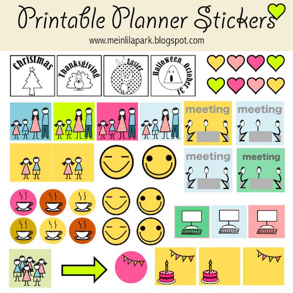 free printable calendar planner stickers - ausdruckbare Agenda-Sticker ...