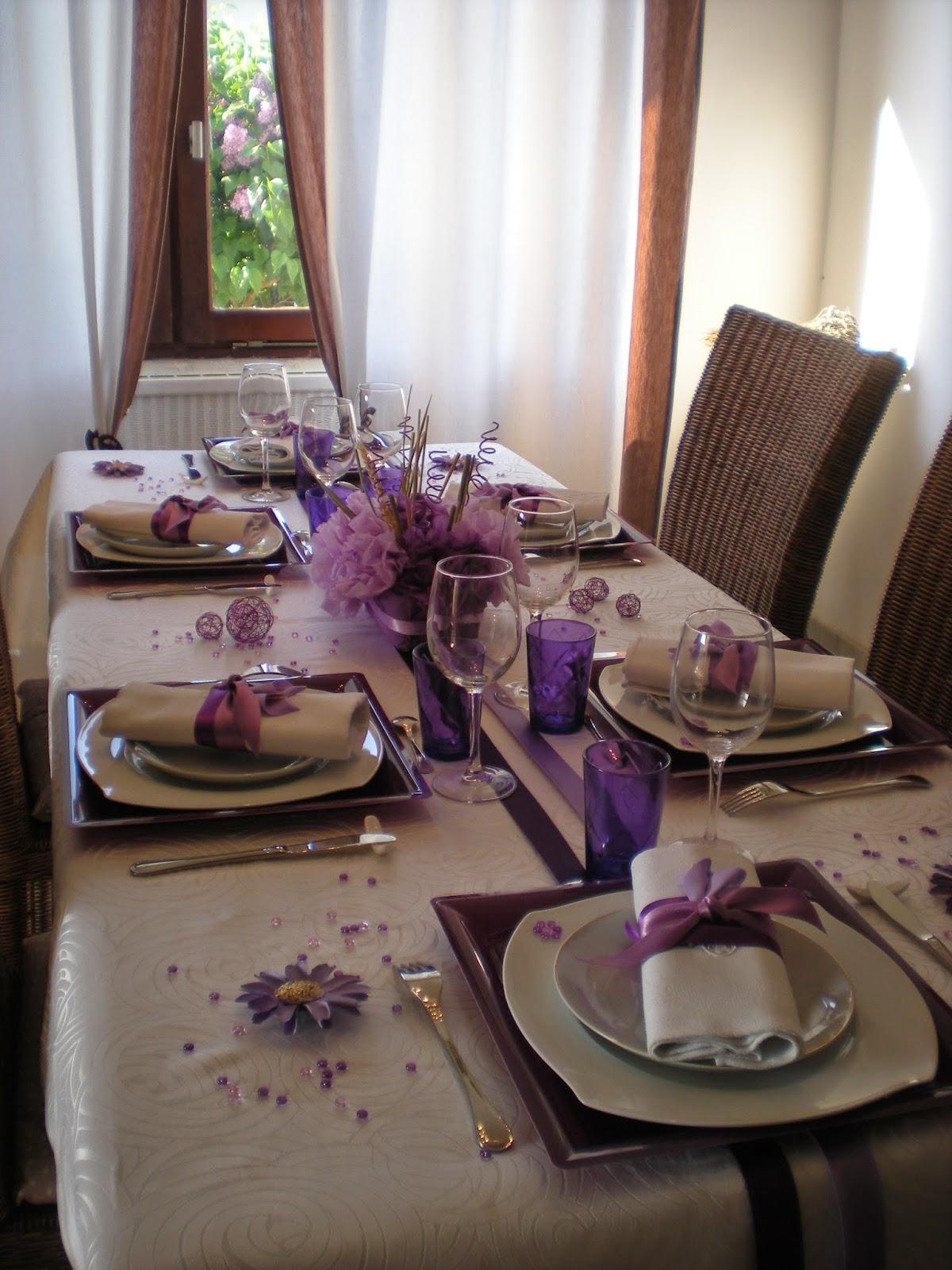 d co th mes une d co de table aux couleurs lilas mauve violet et blanc. Black Bedroom Furniture Sets. Home Design Ideas