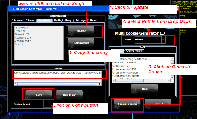 snapshot of the settings of premium cookie generator