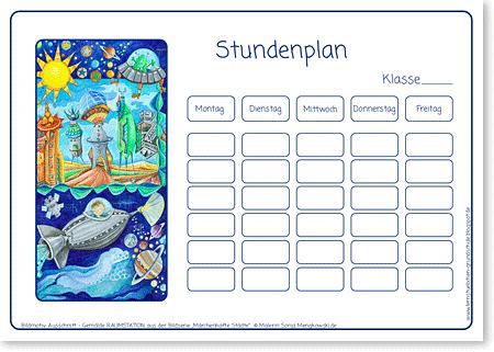 Stundenplan - Raumstation - Format DIN A4 - Grundschule