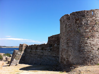 The outer wall of Mytilene Castle on Lesbos, Greece.