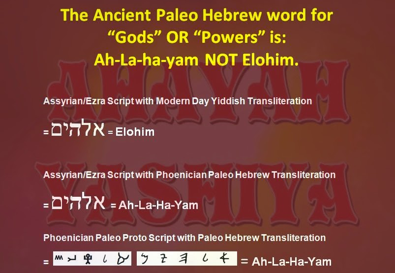 Ahayah yashiya learn ancient phoenician paleo hebrew hebrew writing the difference between ancient paleo hebrew and modern yiddish for the word gods or powers m4hsunfo