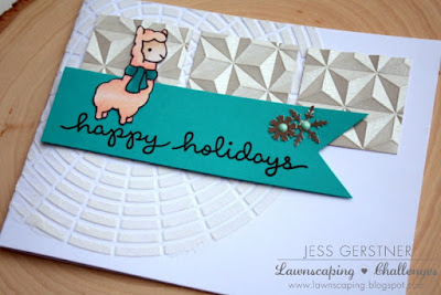 Happy Holidays Card by Jess Gerstner using Lawn Fawn Winter Alpaca