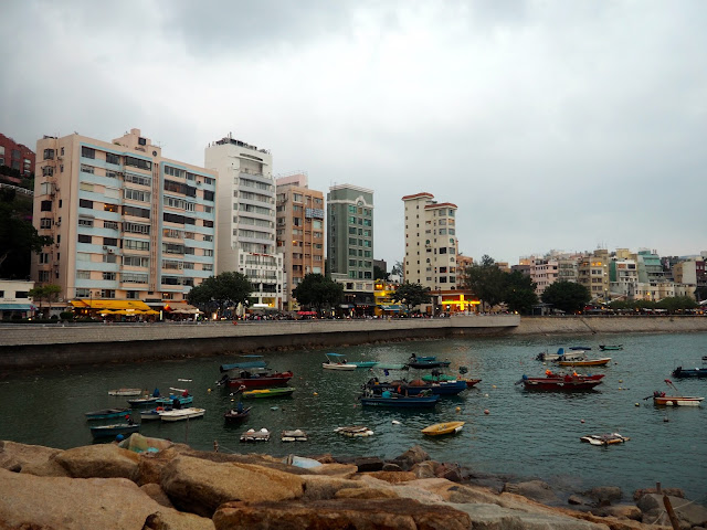 Stanley waterfront with fishing boats in the harbour, Hong Kong
