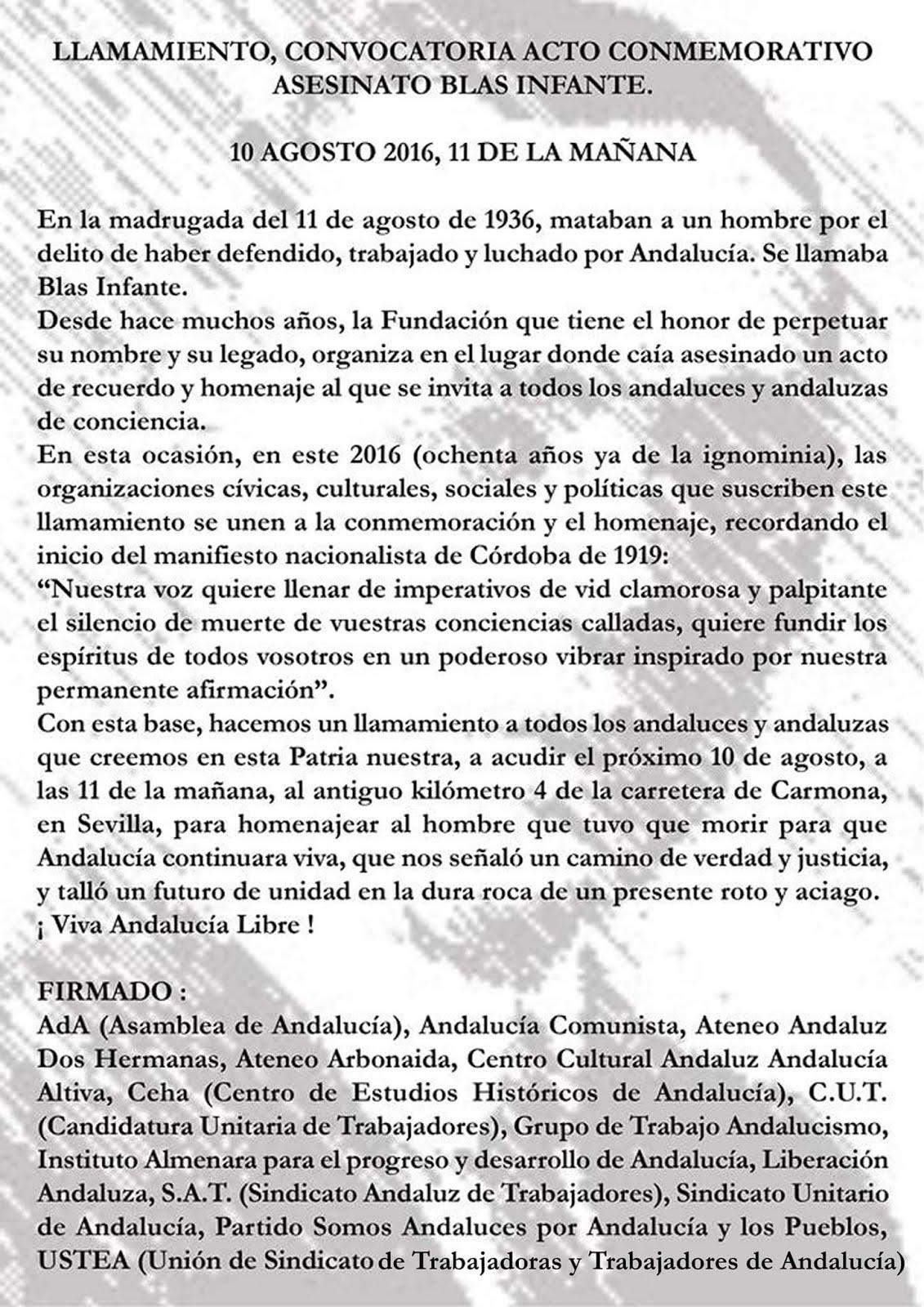 Llamamiento Acto Conmemorativo Asesinato Blas Infante. 10 de agosto 2016, 11 de la mañana.