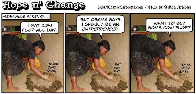 obama, obama jokes, political, humor, cartoon, conservative, hope n' change, hope and change, stilton jarlsberg, cow flop, kenya, entrepreneur