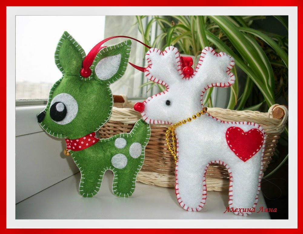 новогодние фетровые игрушки на елочку, олененок, олень