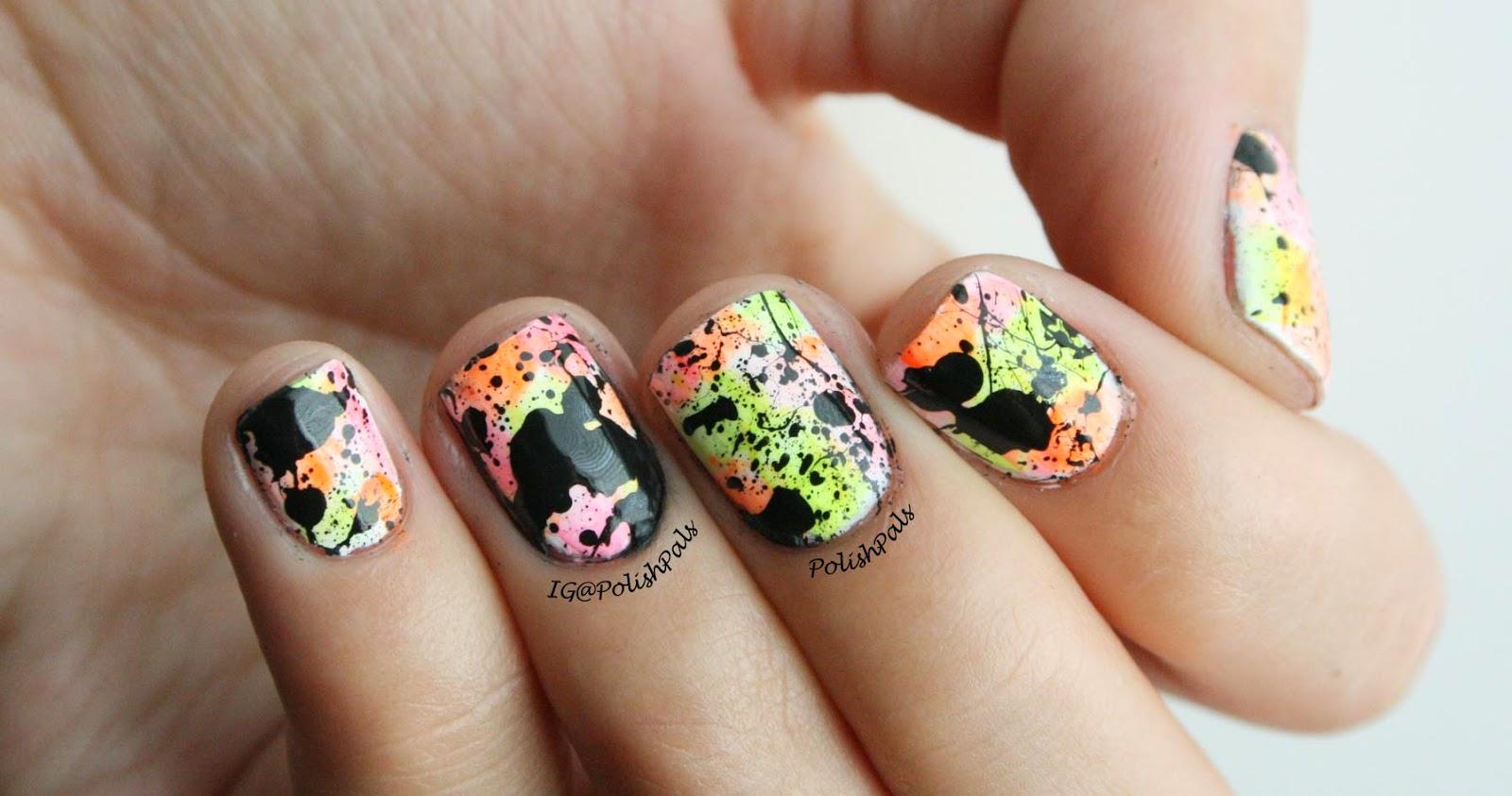 Neon Splatter Paint Nails This Neon Splatter Paint