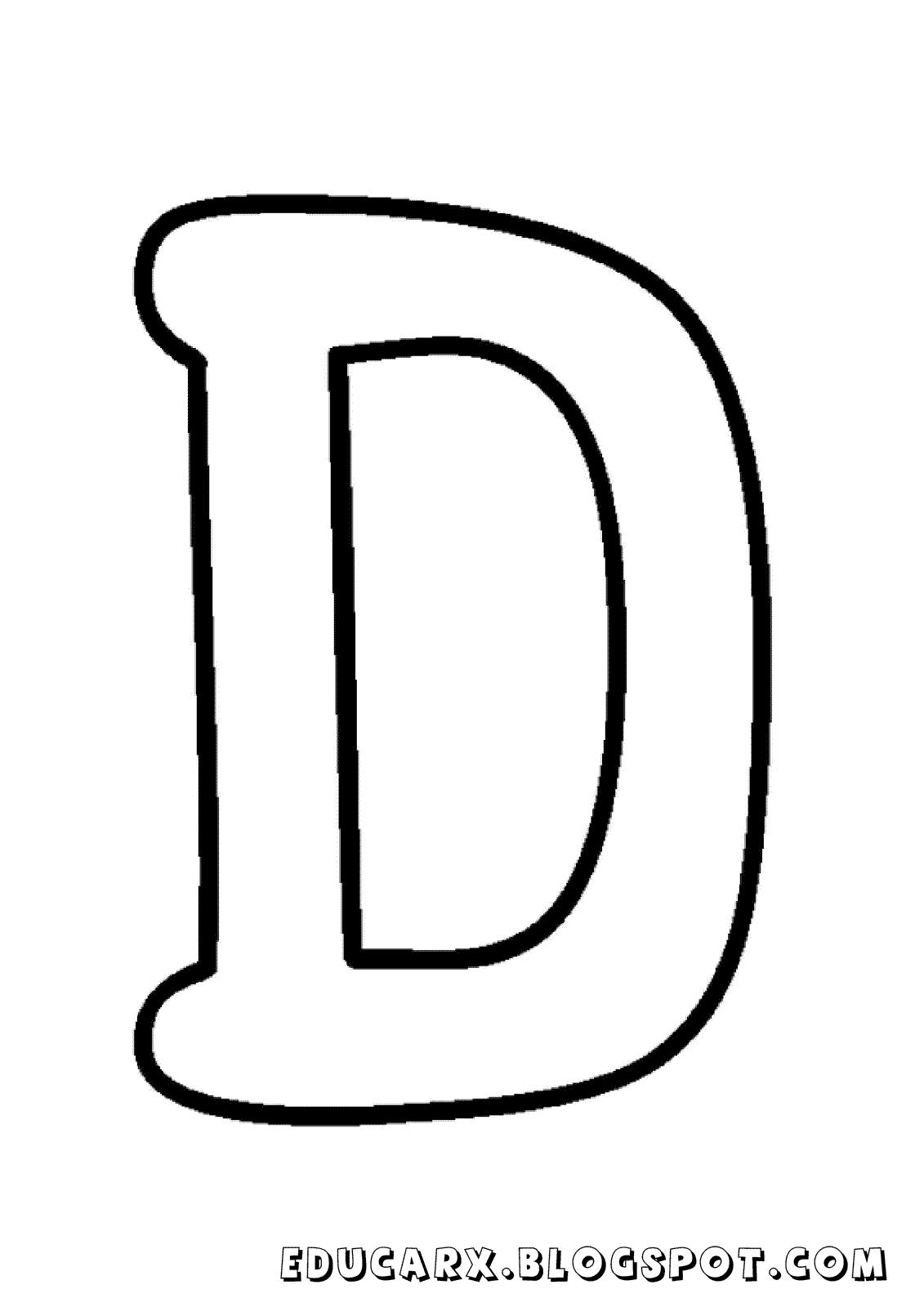 Molde da letra maiúscula D