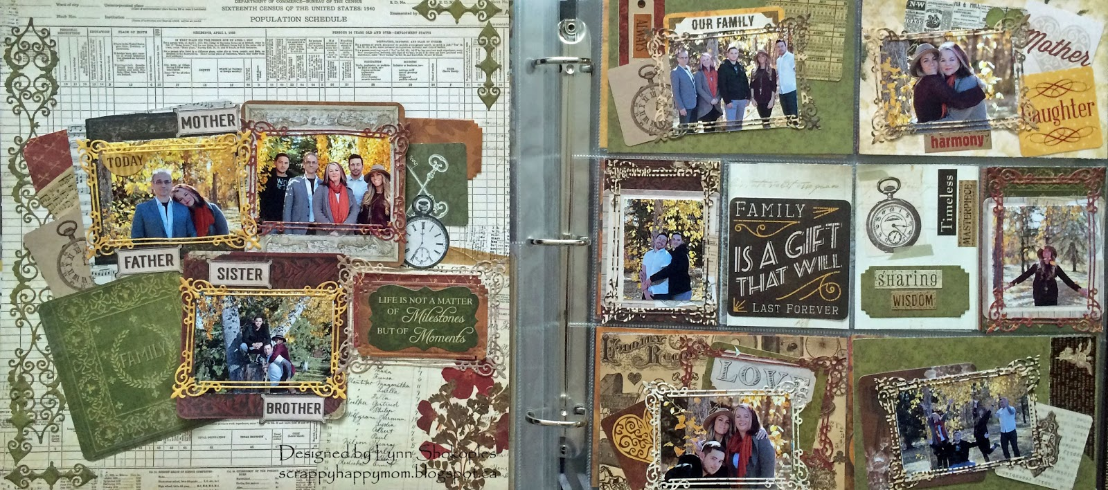 Family Misc. Me layout by Lynn Shokoples for BoBunny featuring the Heritage Collection and Craft Dies