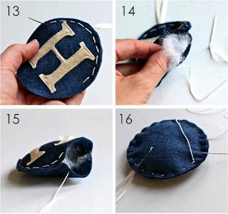 Bolas de natal personalizadas em feltro