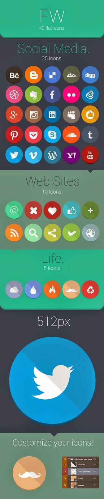 40 Flat Social Media Icons