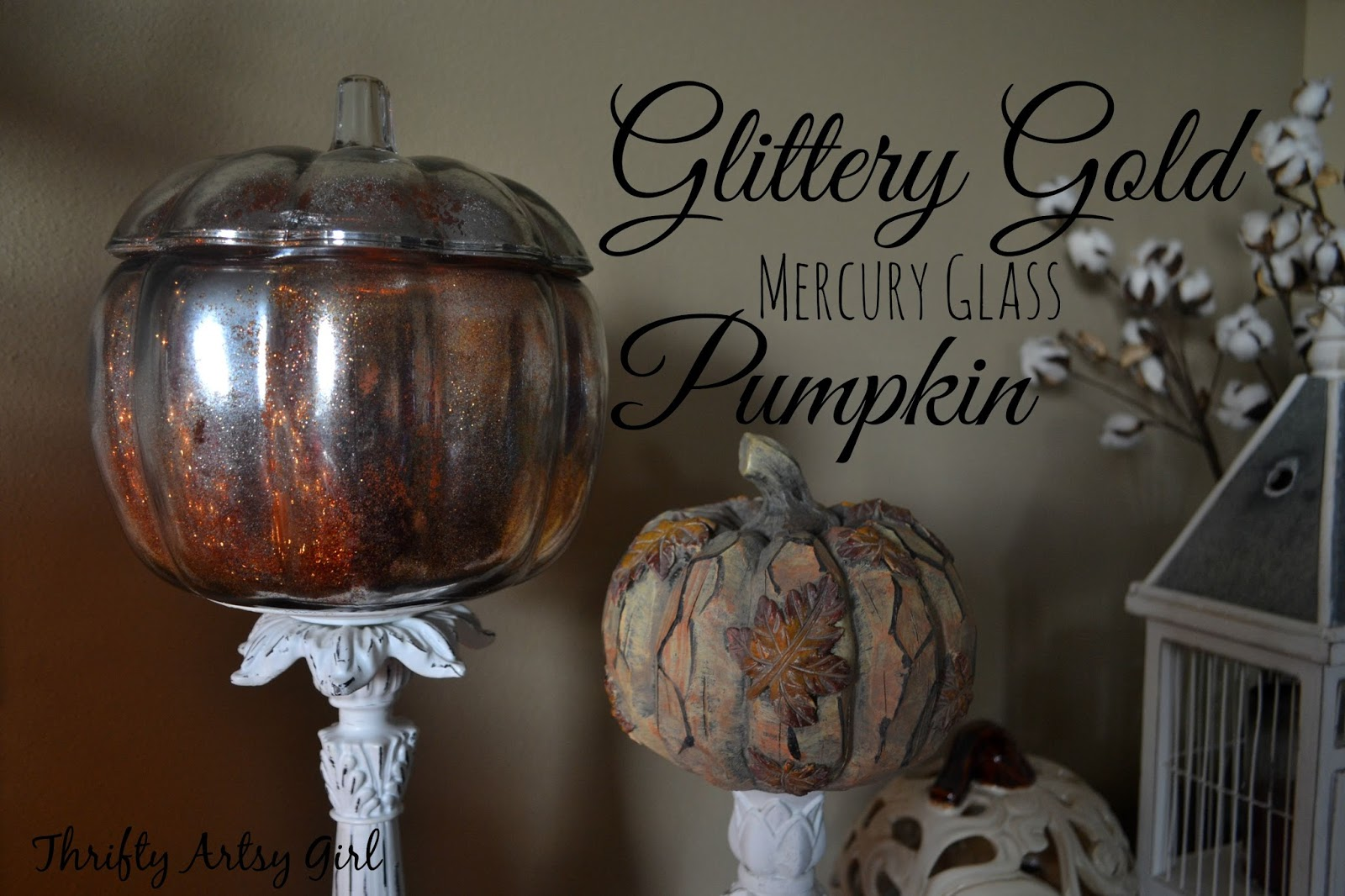 Thrifty artsy girl diy gold glitter mercury glass pumpkin diy gold glitter mercury glass pumpkin solutioingenieria Choice Image