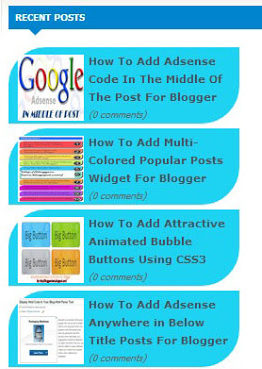Recent Posts Widget with Thumbnails for Blogger