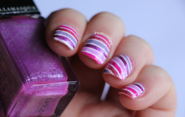 Pink & Purple Striped Nail Art