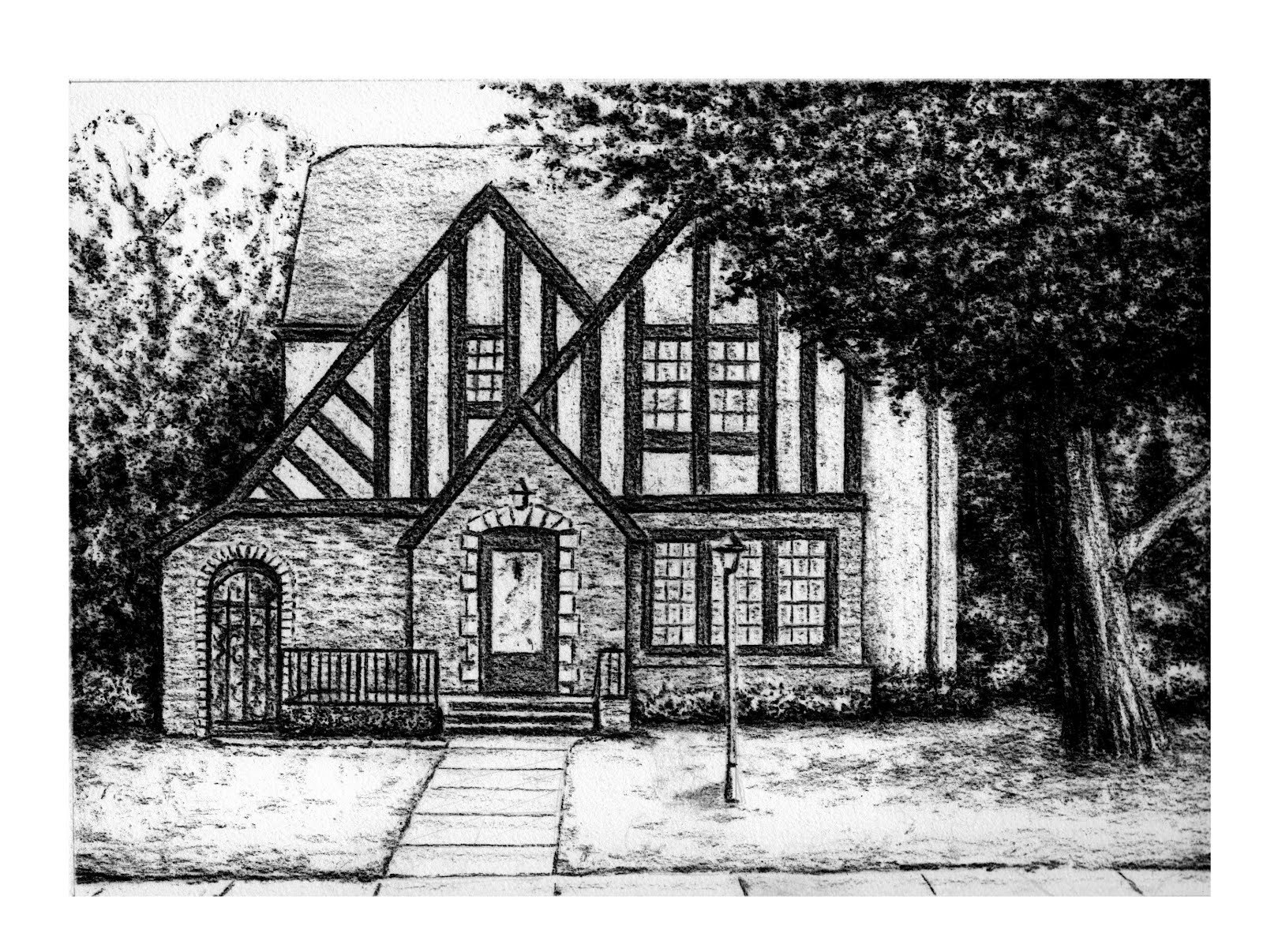 Kyle frink sketch blog charcoal house drawing for House sketches from photos