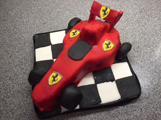 Caroline Makes Ferrari Formula 1 Race Car Birthday Cake