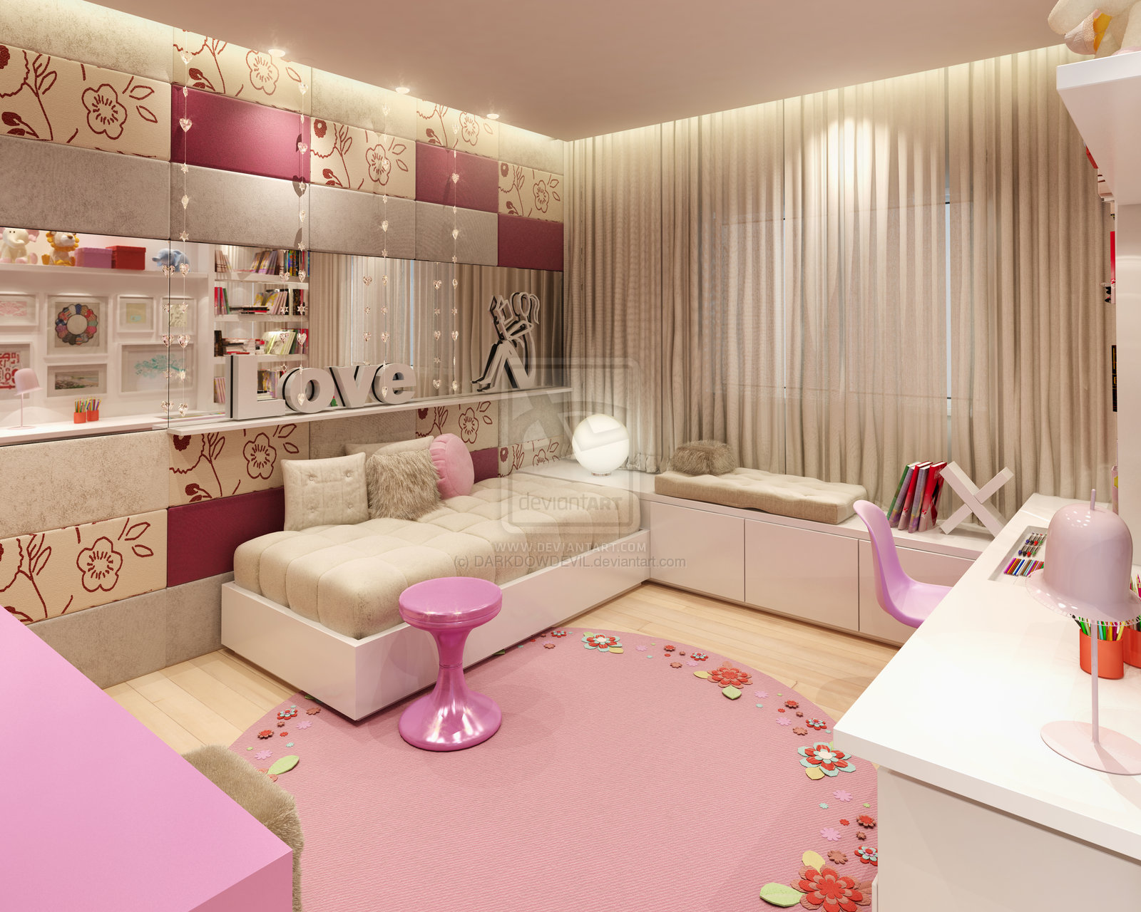 Girly bedroom design ideas azee for Cute bedroom designs for small rooms