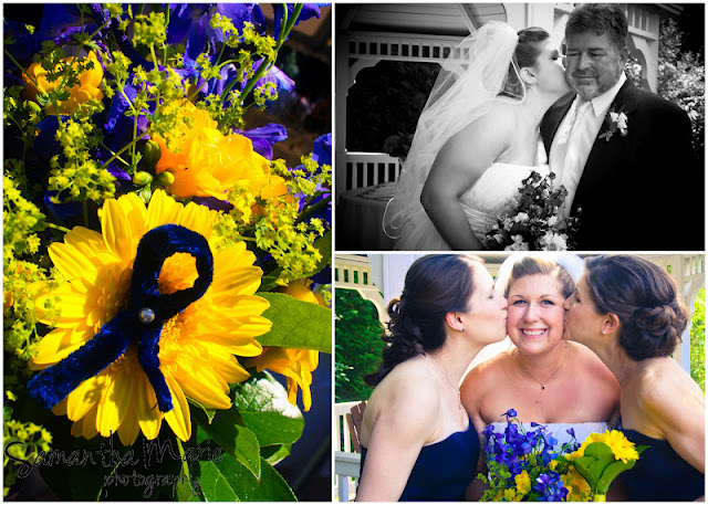 sisters kiss bride on the cheek