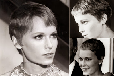 Mia Farrow short haircut with bangs