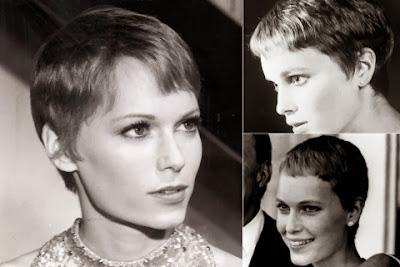 Mia Farrow short haircut with bangs