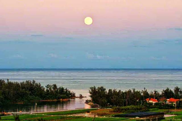 moonrise, river, ocean