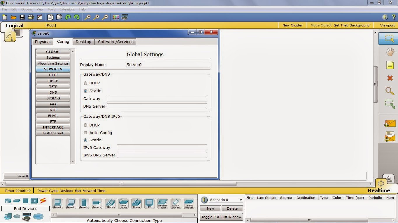 how to set default gateway ip config