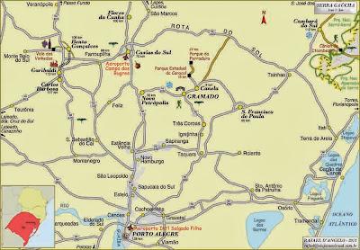 Mapa de acessos a Nova Petrópolis – RS