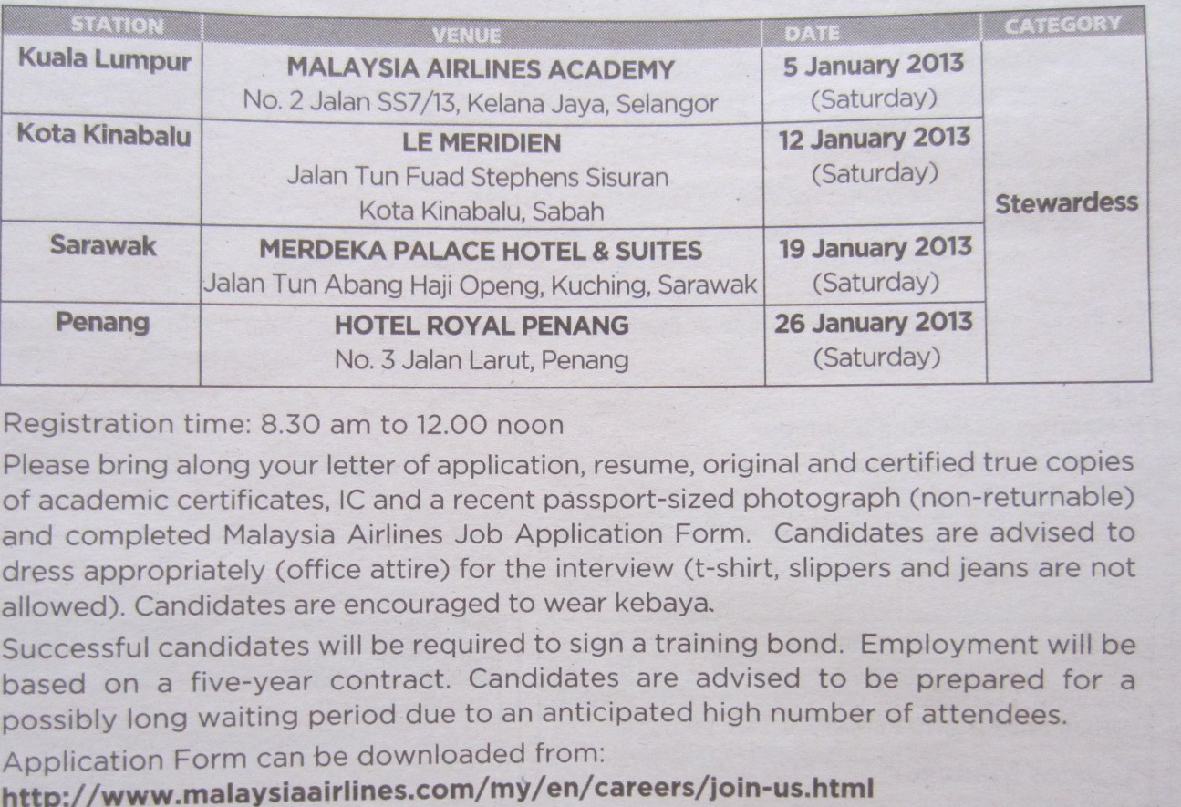 Fly Gosh: Malaysian Airlines - Cabin Crew Walk in Interview Jan 2013