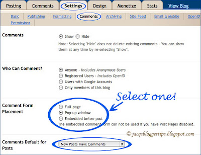 Screen shot of Blogger's comment form placement options
