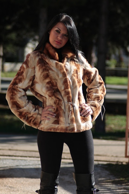 golden brown short mink fur paws jacket