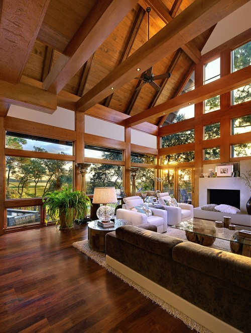Modern contemporary living room with lots of wood in Tree House by Anderson Studio Of Architecture And Design