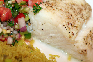 Baked Halibut, Curried Rice and Salsa