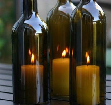 Ecomania blog convierte botellas en candelabros y portavelas - Botellas con velas ...
