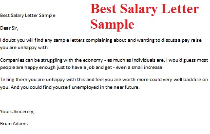 Best Salary Letter Sample Picture  Letter Format For Salary Increment