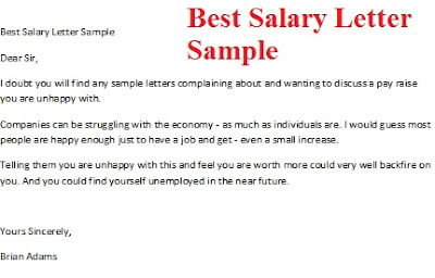 Best Salary Letter Sample – Sample Salary Letter