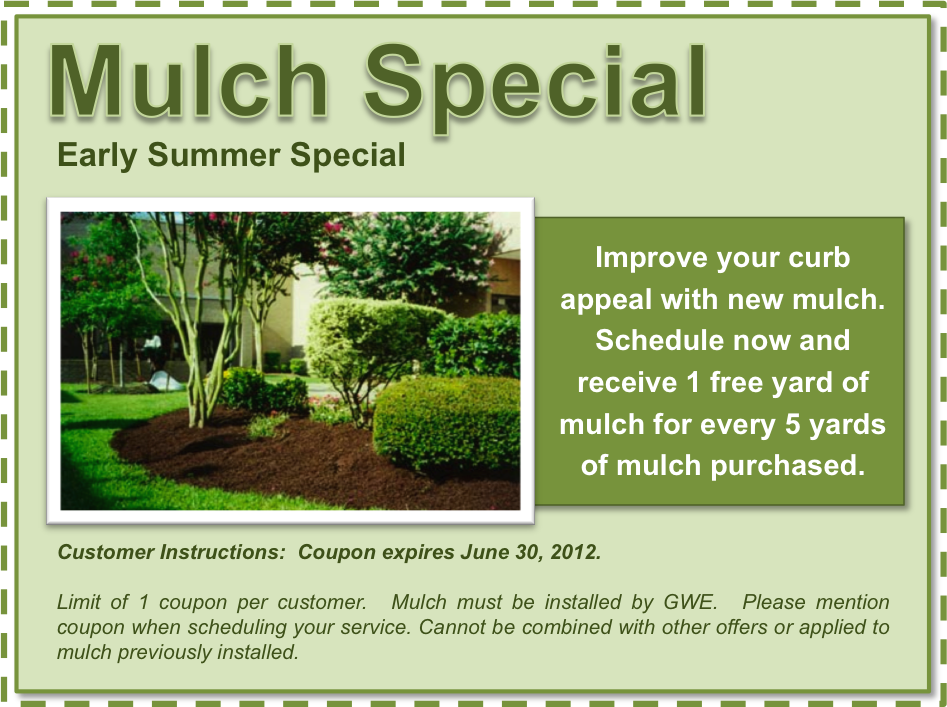 June coupons green with envy inc landscaping lawn for Landscaping and garden maintenance