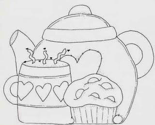 Risco para pintura de menina do chá
