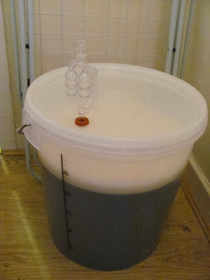 23L of IPA ready to ferment in a plastic fermenting bucket