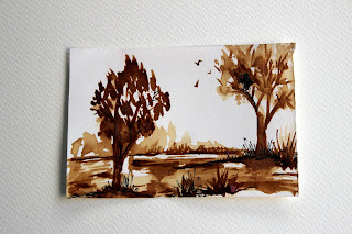 coffeepainting,trees,brown,monochrome,landscape,scenery