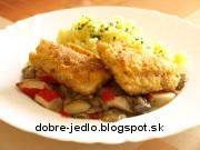 Ryba na šampiňónoch s krabími tyčinkami - recept