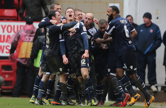 Shane Lowry celebrates after scoring against Charlton with his Millwall teammates