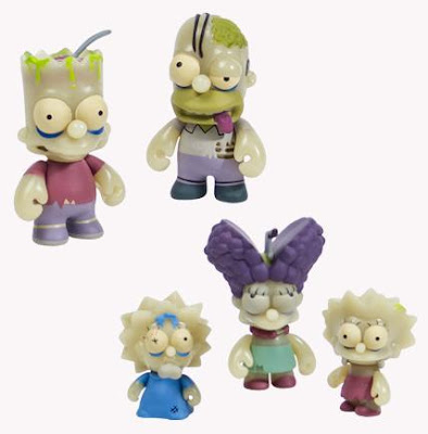 Kidrobot x The Simpsons Glow in the Dark Zombie Family 5 Pack - Bart, Homer, Maggie, Marge & Lisa