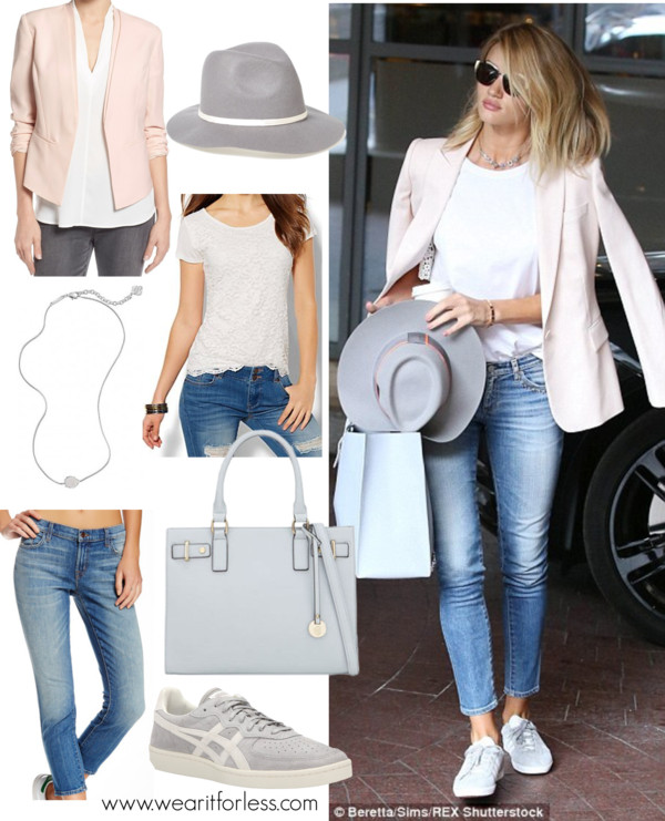 Celebrity Street Style, Rosie Huntington-Whiteley, London, Spring outfit idea, celebrity wearing a blazer
