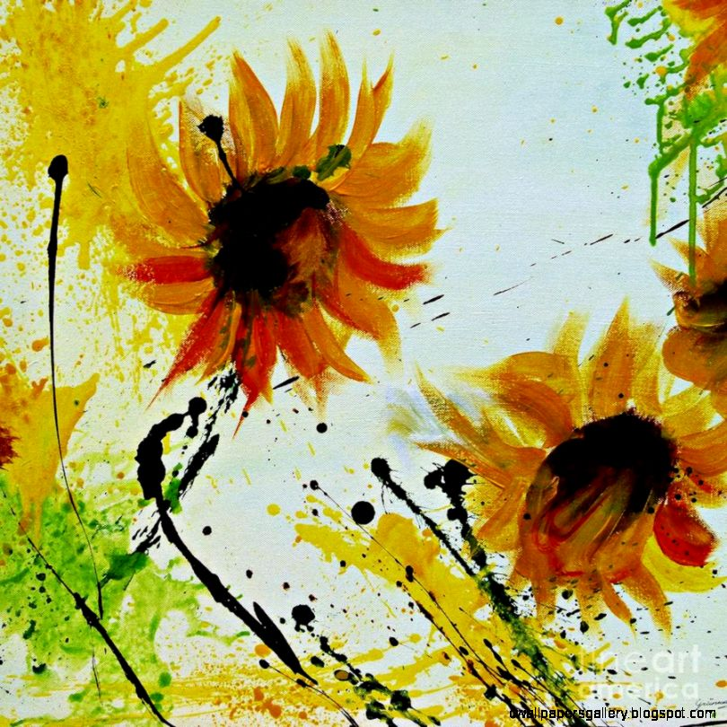 Abstract Sunflowers 2 Painting by Ismeta Gruenwald