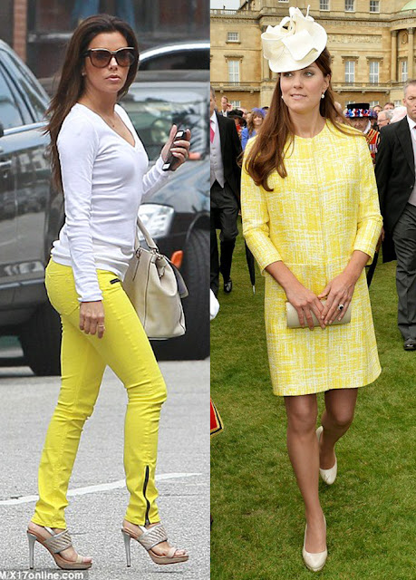 Eva Longoria and Kate Middleton both spotted in yellow