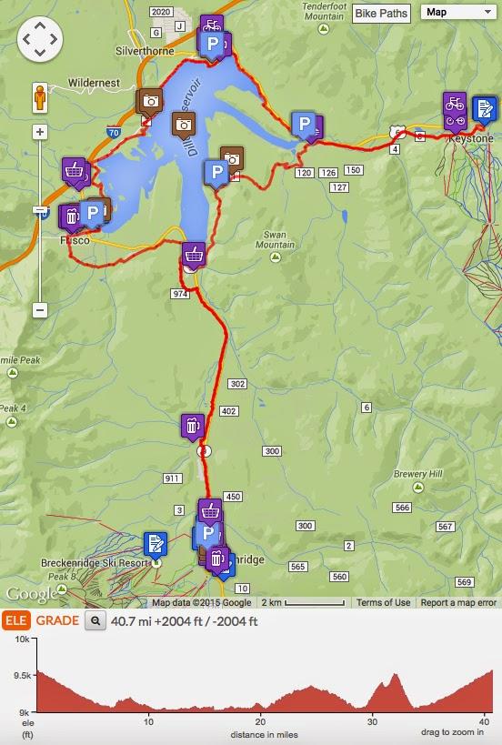 Breckenridge to Lake Dillon bike ride map
